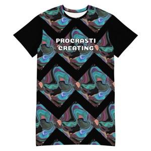 Abstract Painting Print PROCRASTICREATING Black T-shirt Dress