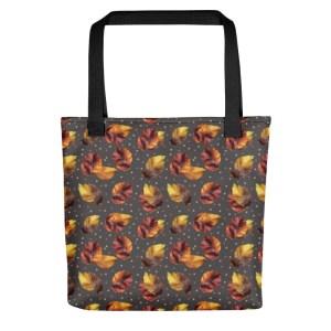 Autumn Leaves Polka Dot Dark Pattern Shopping Tote Bag