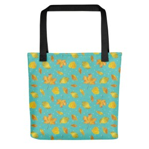 Vibrant Mint Yellow Autumn Leaves Pattern Back to School Tote Bag