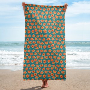 Orange Coreopsis Floral Pattern with Hearts Towel