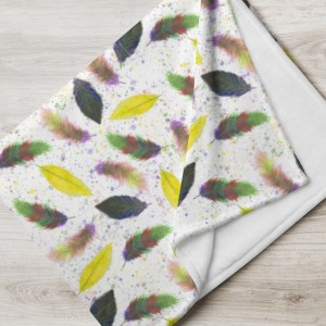 Yellow Watercolor Feathers Pattern Print Throw Blanket