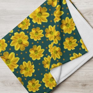 Yellow Zinnia Floral Pattern on Green Throw Blanket
