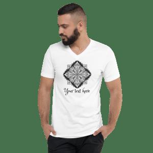 Custom Text Mandala Line Art Unisex Short Sleeve V-Neck T-Shirt #4