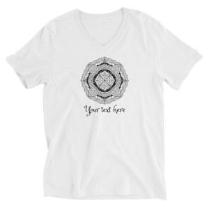 Custom Text Mandala Line Art Unisex Short Sleeve V-Neck T-Shirt #15