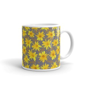 Yellow Coreopsis Daisy Floral Pattern Glossy Ceramic Mug