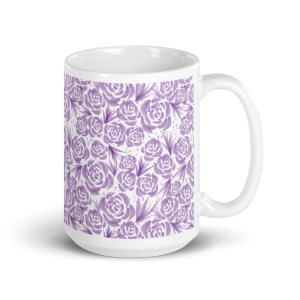 Watercolor Purple Roses Pattern White Glossy Ceramic Mug