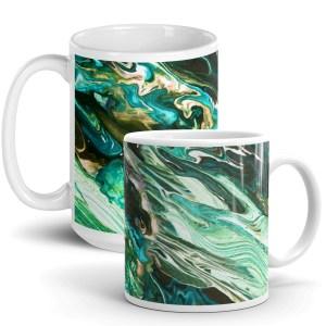 White Glossy Ceramic Mug with Emerald Green Fluid Art Print