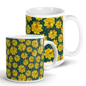 Yellow Zinnia Floral Pattern Glossy Ceramic Mug Green Print