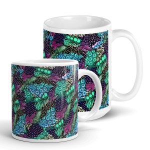 White Glossy Ceramic Mug with Floral Zentangle Doodles Print