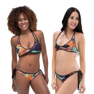 Double-sided Cool and Bright Fluid Art Print Artistic Bikini
