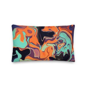 Cool and Bright Fluid Art Premium Pillow