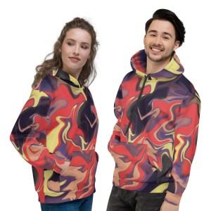 Fiery Abstract Fluid Art Unisex Hoodie