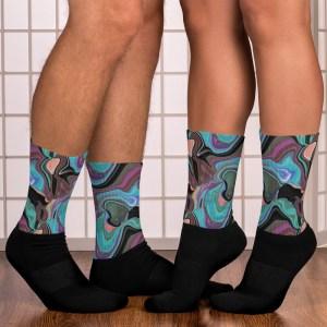 Teal Purple Brown Fluid Art Abstract Color Mix Black Socks