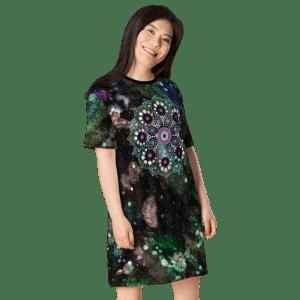 Space Dot Mandala Green Galaxy T-shirt Dress
