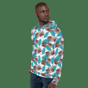 Mint Chocolate Palm Leaves Pattern Unisex Hoodie
