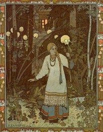 Ivan Bilibin, Vasilisa the Beautiful leaves the house of Forest Witch