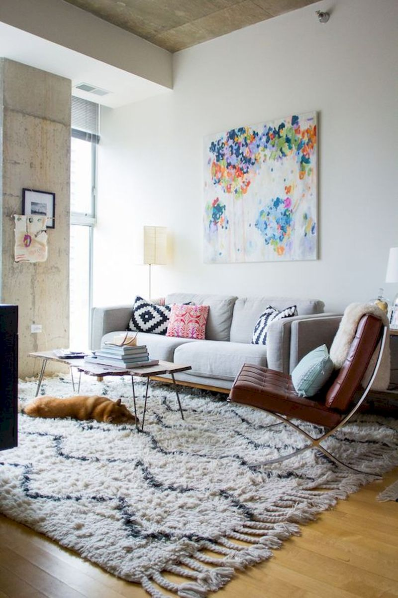 50 Best Living Room Decor Ideas With Artwork Rugs (40)