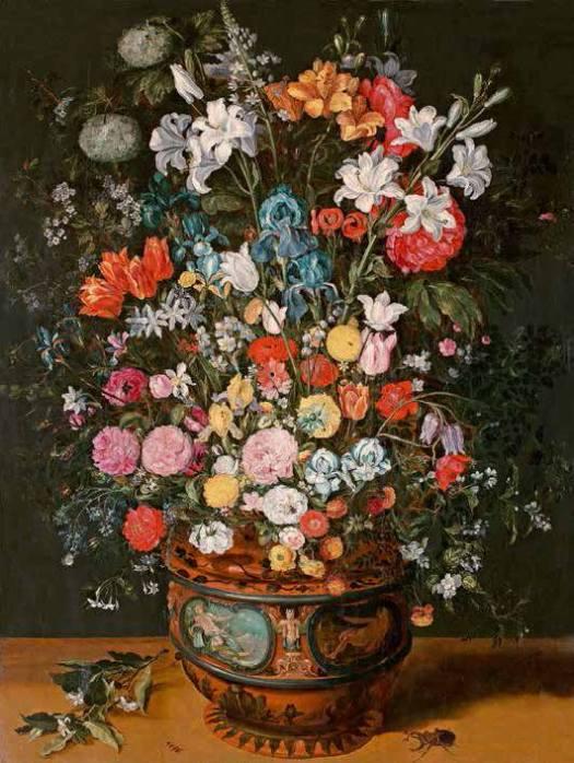 Ян Брейгель Младший. «Большой букет из лилий, ирисов, тюльпанов, орхидей и пионов в вазе, декорированной изображениями Амфитриты и Цереры»