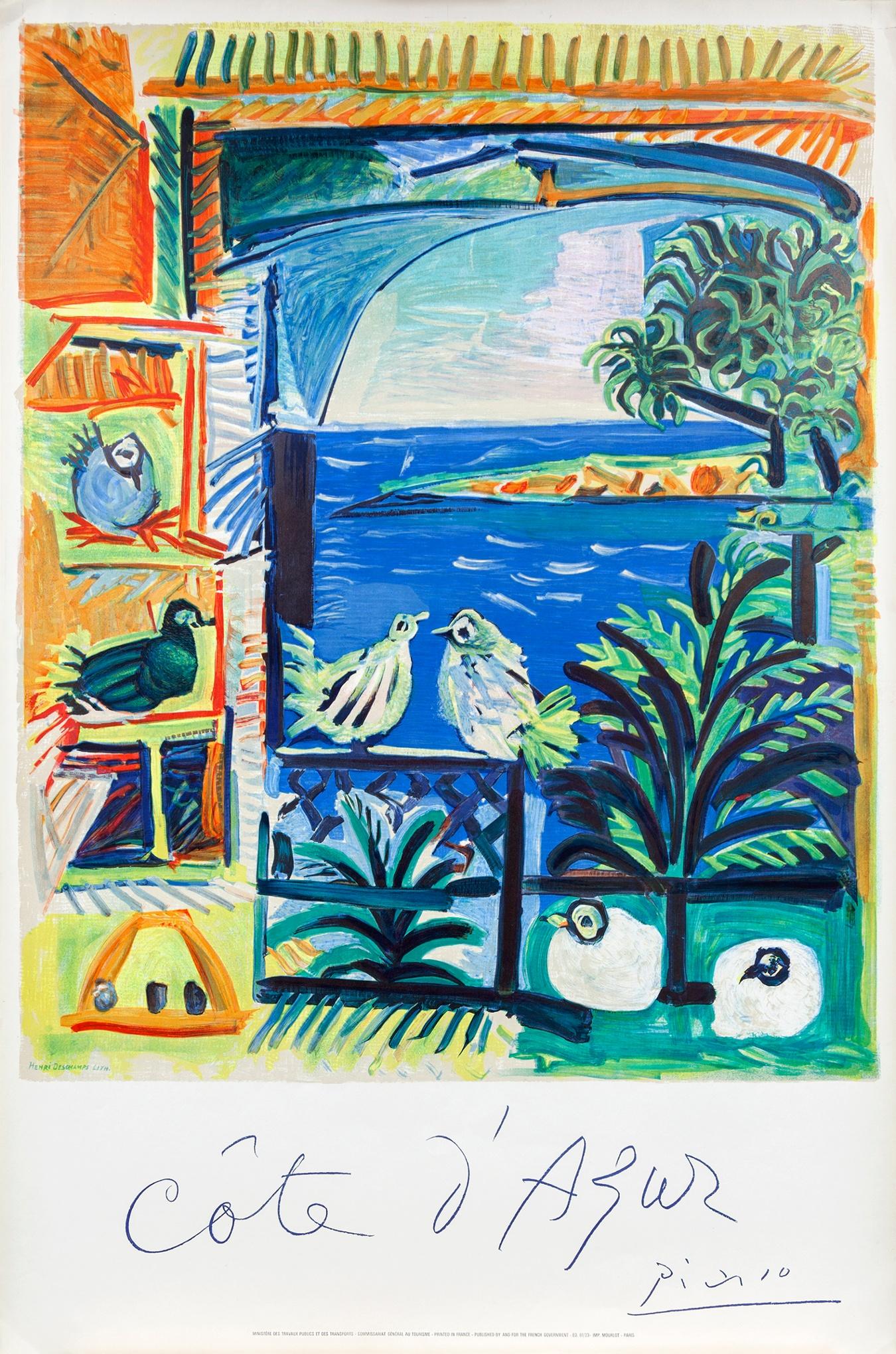 """Пабло Пикассо. """"Кот д'Азур"""". В 1962 году Французское управление туризма заказало Пикассо рекламу курорта Кот д'Азур. Что он и сделал, взяв за основу собственную картину 1957 года из серии картин, написанных с видов из окна виллы в Калифорнии."""