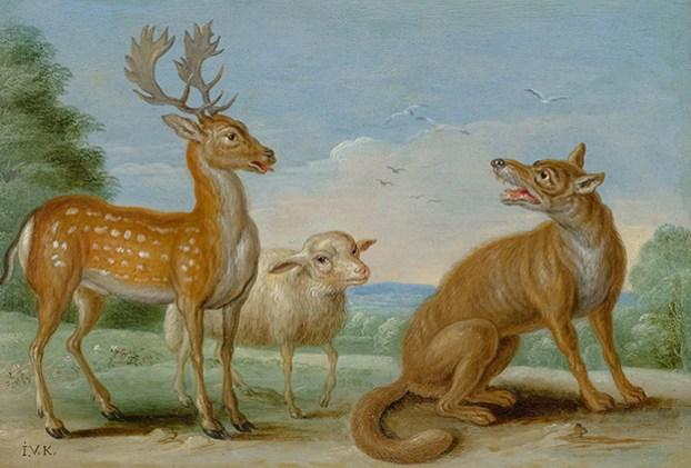 Ян Ван Кессель Старший. «Волк, олень и овечка»