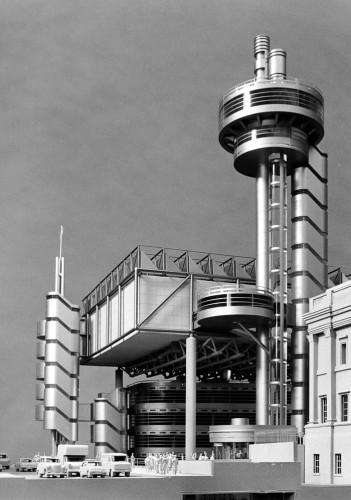 Проект расширения Национальной галереи, Трафальгарская площадь. 1982 год. После того как принц Чарльз охарактеризовал будущее здание как «чудовищный карбункул», проект был заброшен.