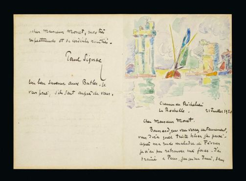 Письмо Поля Синьяка Клоду Моне, написанное 21 июля 1920 в Ла-Рошеле. Оценено в $50 000 - 100 000