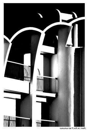 Peculiar architecture buildings of La Grande Motte as designed by Jean Balladur, the famous architect
