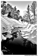 Frozen stream in the pyrenees mountains