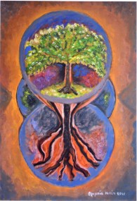 The Tree of Life and the Three Worlds (Oil on canvas, 70X50 cm)