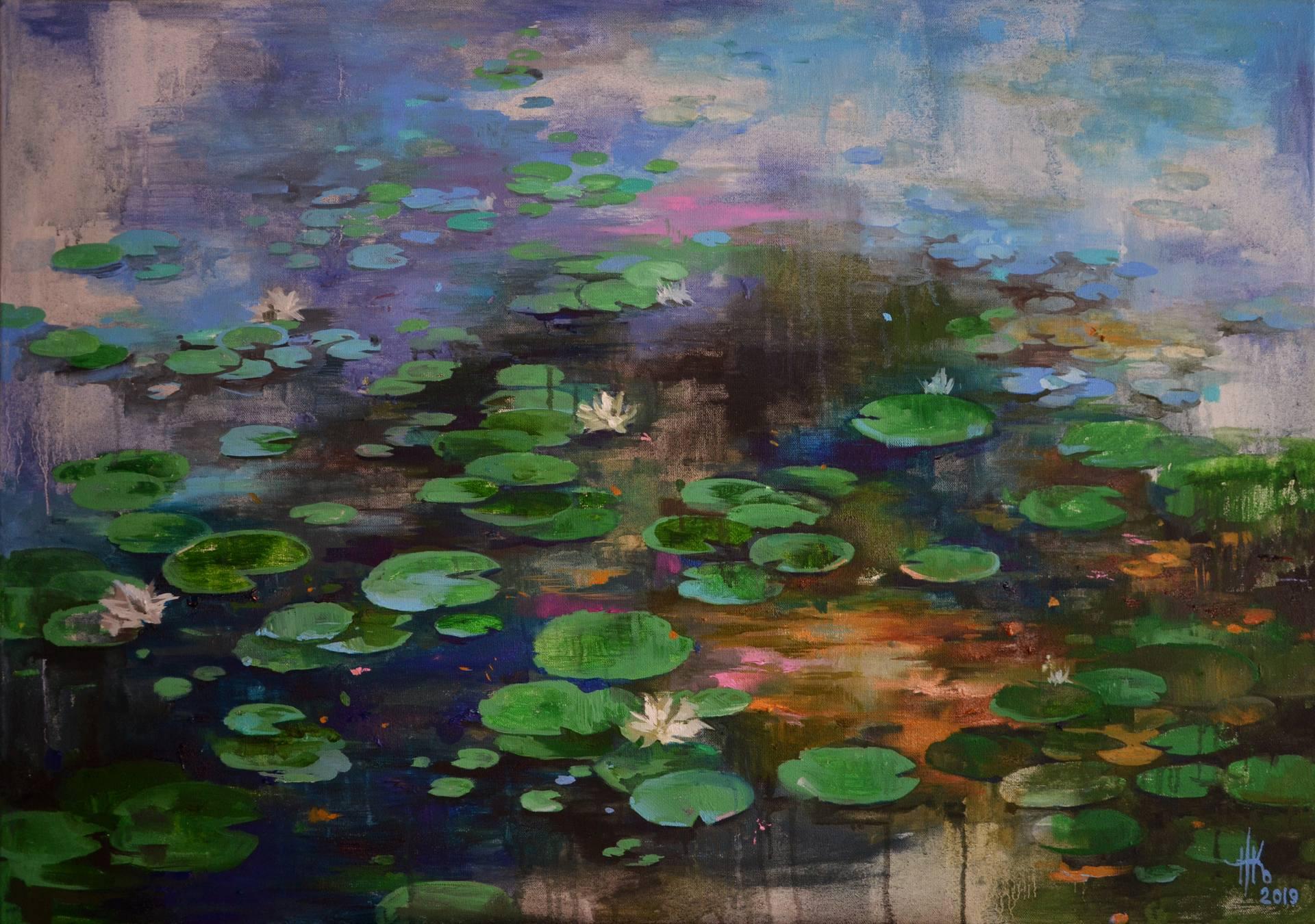 Lily pond. Wavy mirror