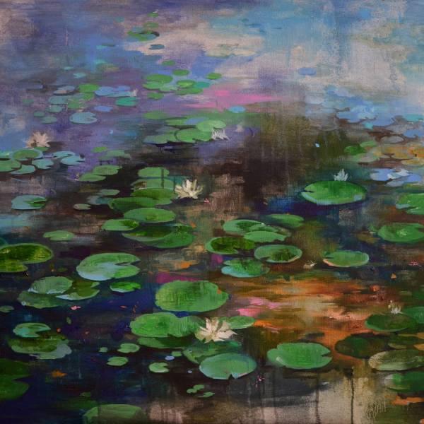 Lily pond. Wavy mirror by Zhanna Kondratenko