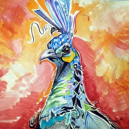 Original Animal Painting by Aleksandar Lukic | Modern Art on Paper | Peacock
