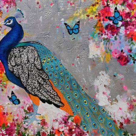Original Animal Painting by Amylee Paris   Art Deco Art on Canvas   3 butterflies ?