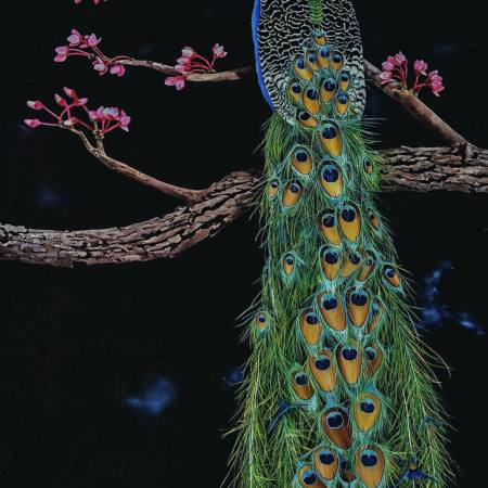 Original Animal Painting by Dana Newman | Figurative Art on Wood | Royal Peacock