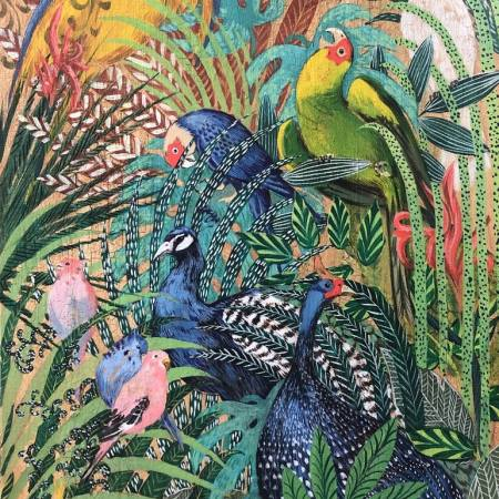Original Animal Painting by Milena Bozheva   Art Deco Art on Cardboard   bird of paradise