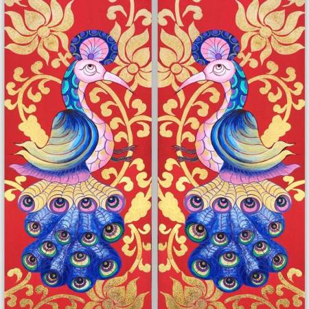 Original Animal Painting by Nannapha Aiamlaaiad   Figurative Art on Canvas   Peacock Art