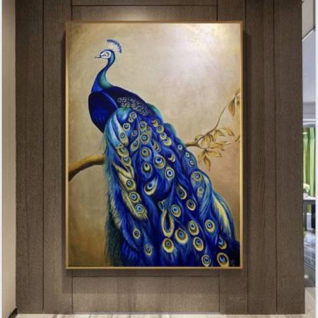 Original Animal Painting by Oksana Petrenko | Art Deco Art on Soft (Yarn, Cotton, Fabric) | Peacock