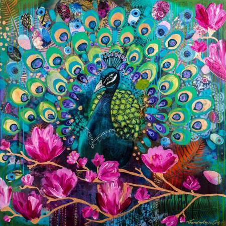 Original Animal Painting by Sandra Oost | Fine Art Art on Canvas | Peacock