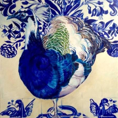 Original Animal Painting by Sanneke Griepink   Figurative Art on Canvas   Portuguese Fantasy with Peacock II