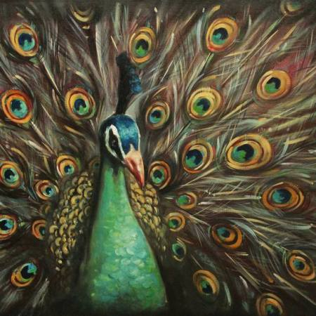 Original Animal Painting by Tem Dobrinova | Fine Art Art on Canvas | Peacock