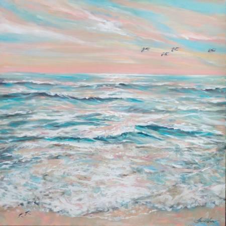 Original Beach Painting by Linda Olsen | Expressionism Art on Canvas | Calm Seas