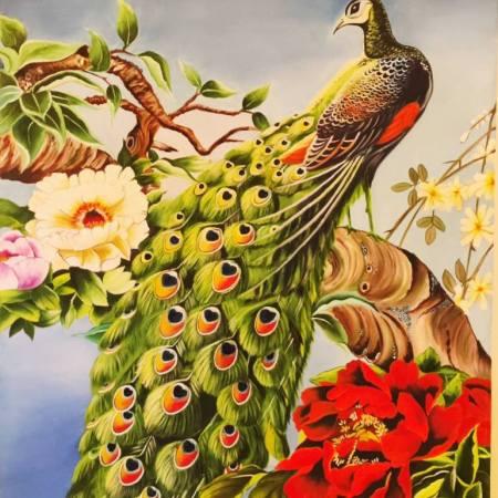 Original Landscape Painting by Geetu Thakur   Conceptual Art on Canvas   Peacock view