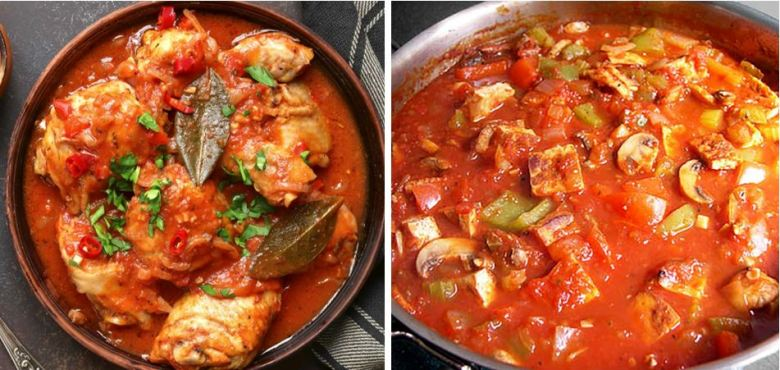 Chicken and tofu cacciatore