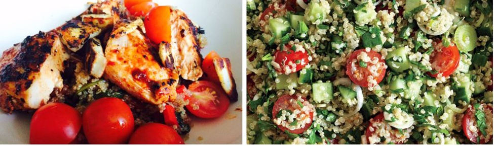 harissa chicken or tofu quinoa salad