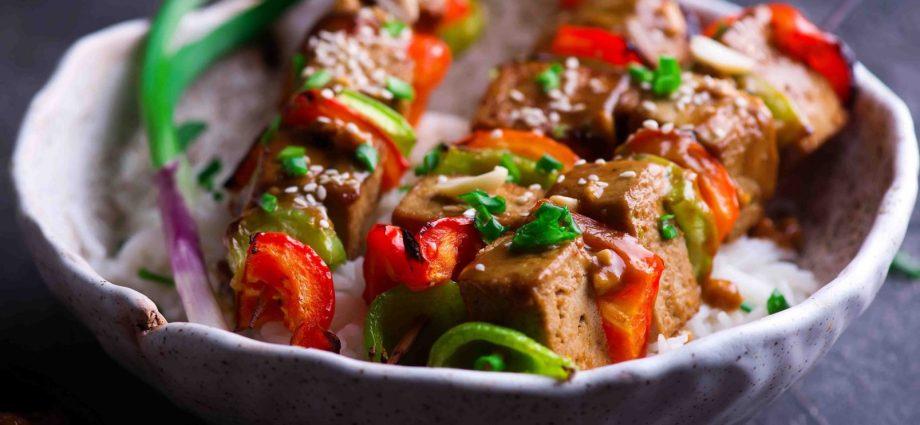 Tofu and Sweet Pepper Skewers