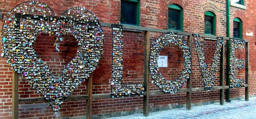 Love locks sign in the Distillery District, Toronto