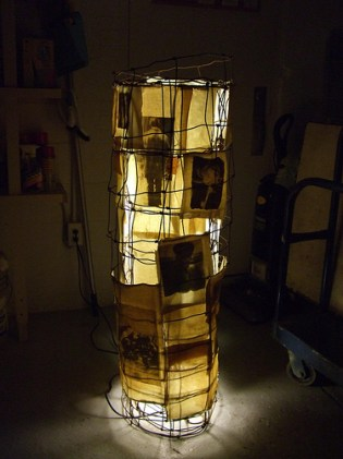 #3 (illuminated). Brandon Long. fencing wire, light, canvas, found images. Circa 2000.