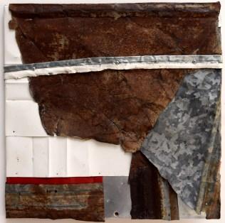 """Meteorite. 18x18"""" Recycled metal assemblage on wood. Brandon Long. 2017."""