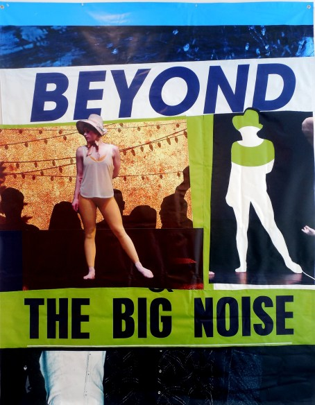 "Beyond the Big Noise. Brandon Long. 72"" x 93.5"" Vinyl billboard collage. 2016."