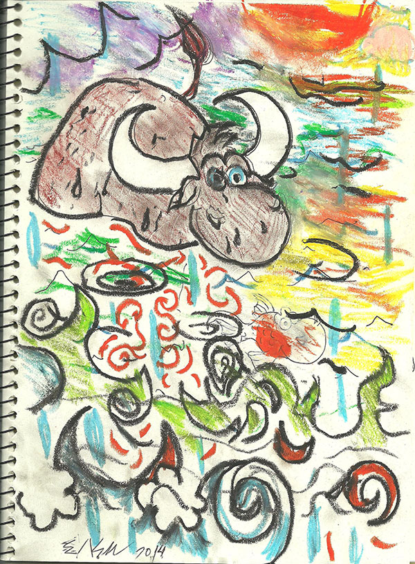 The Buffalo. Pastel and pen on paper.